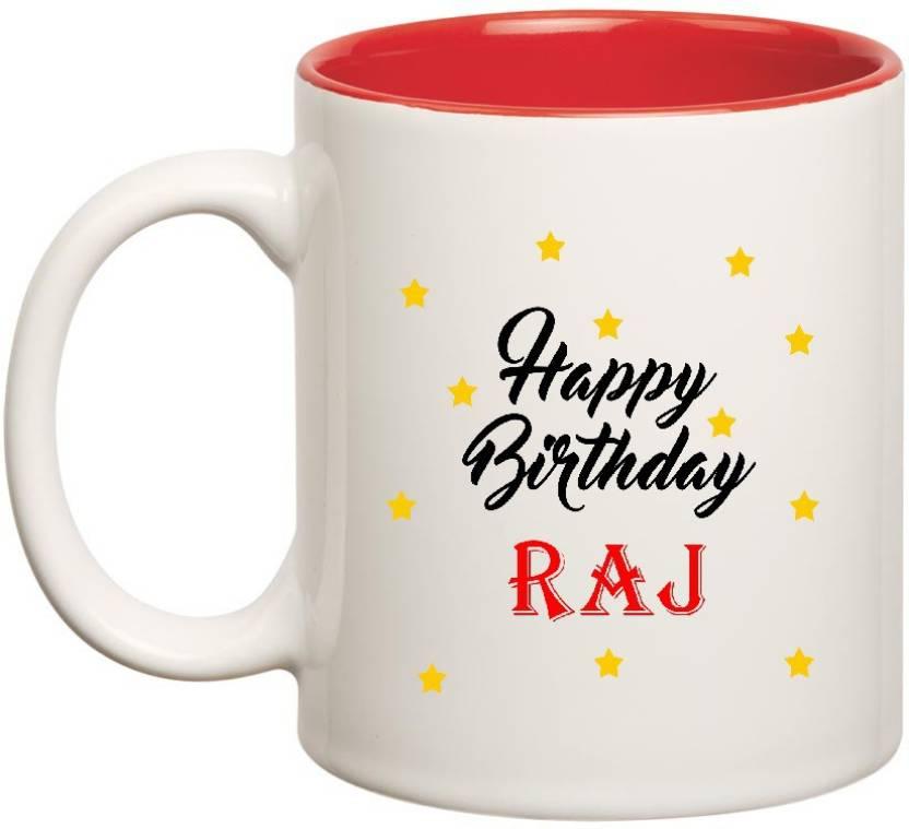 Huppmegift Happy Birthday Raj Inner Red Ceramic 350ml Ceramic Mug