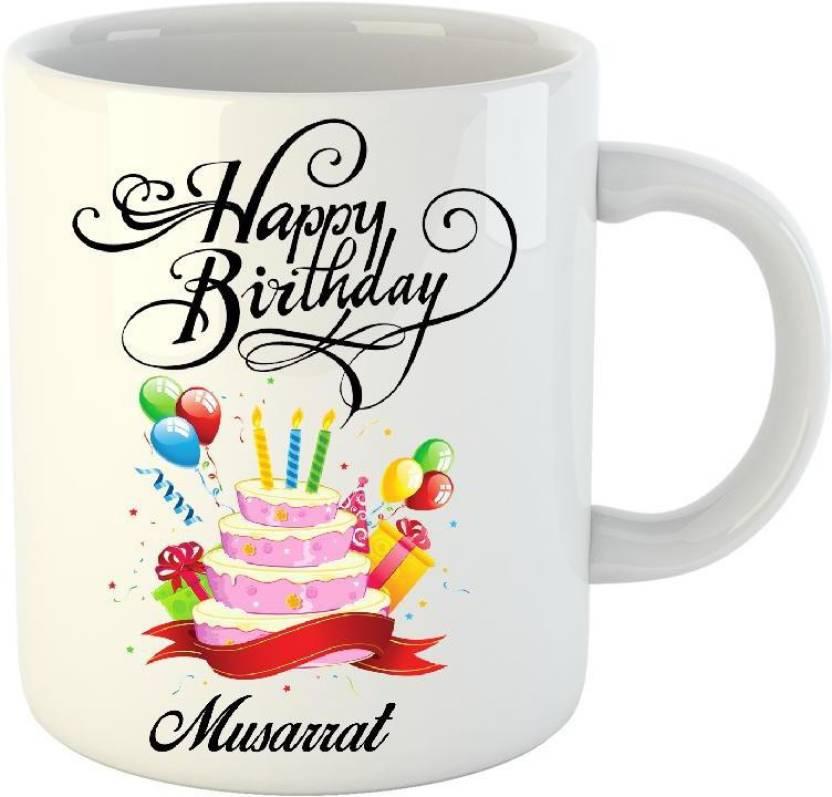 Huppme Happy Birthday Musarrat White 350 Ml Ceramic Mug