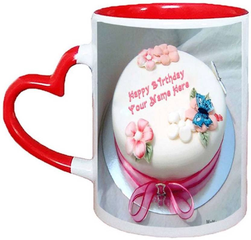 Muggies Magic Birthday Cake For Sister Name Red Heart Handle 11 Oz Ceramic Mug 325 Ml