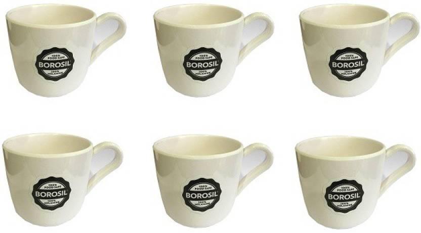 Borosil Small Milk White Set Of 6 Melamine Mug