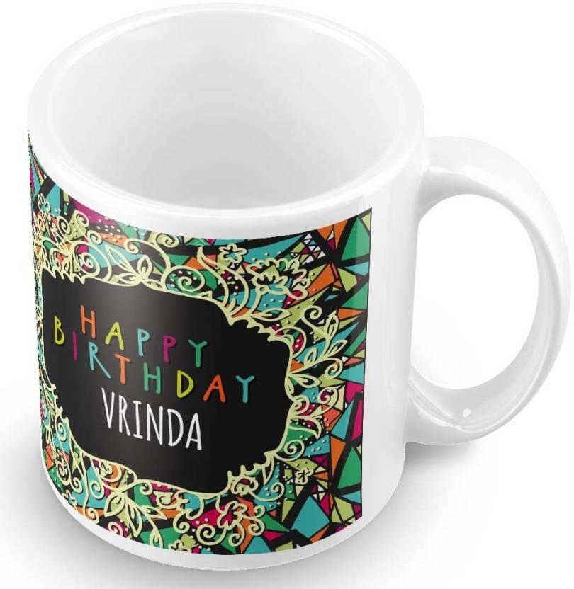 Posterchacha Vrinda Name Happy Birthday Gift Ceramic Mug
