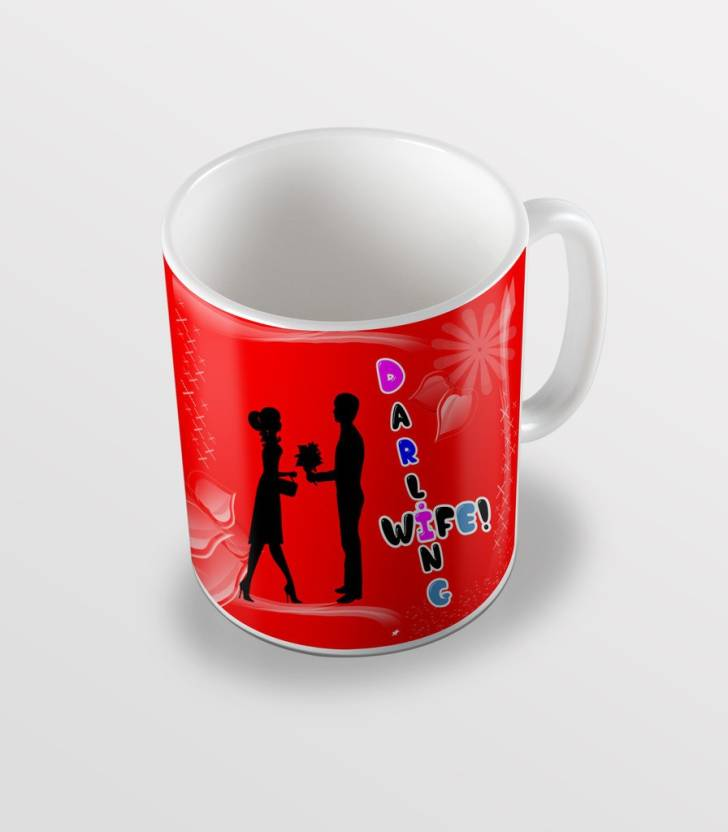 d18a3d15192c SKY TRENDS Darling Wife Happy Karwa Chauth With Red Color Background Couple Special  Gifts For Wife Coffee Ceramic Mug (325 ml)