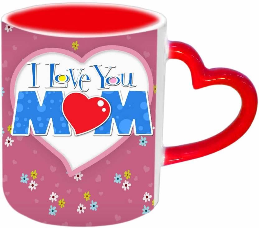 Jiya Creation1 I Love you Mom with beautiful Wallpaper Red