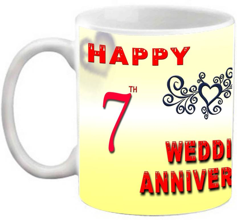 7th Wedding Anniversary.Efw Happy 7th Wedding Anniversary 325ml Photo Personalized Ceramic Mug
