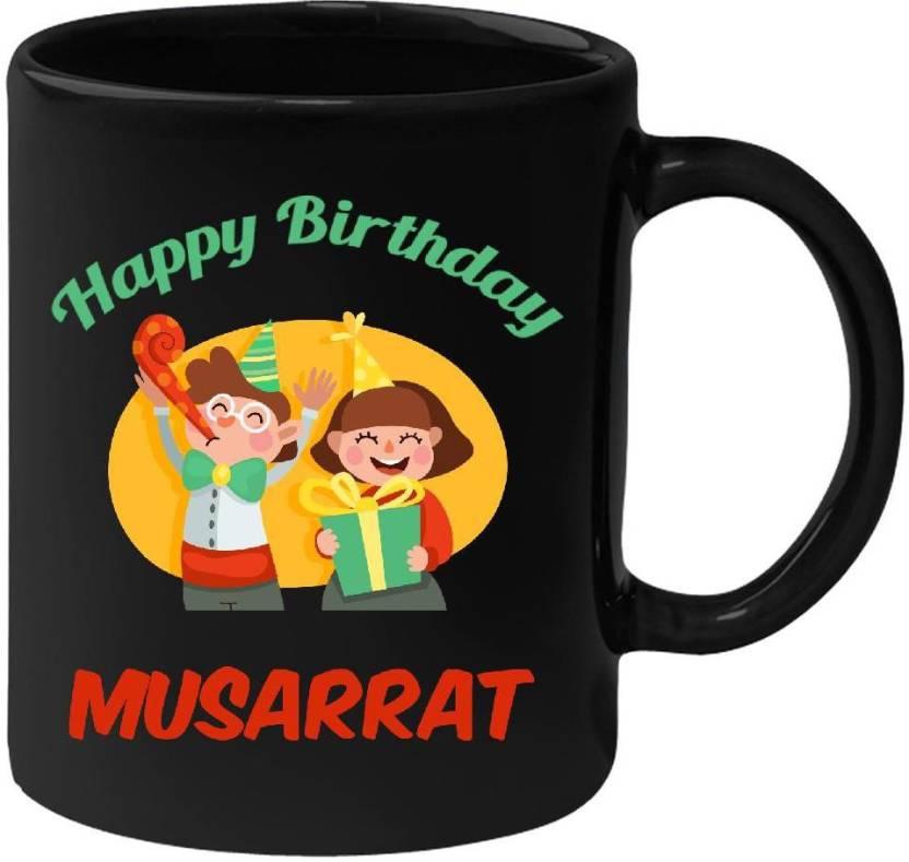 HuppmeGift Happy Birthday Musarrat Black 350 Ml Ceramic Mug