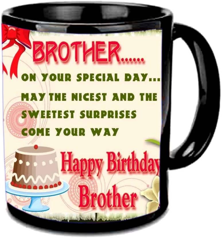 Jiya Creation1 brother b'day cake black mug Ceramic Mug