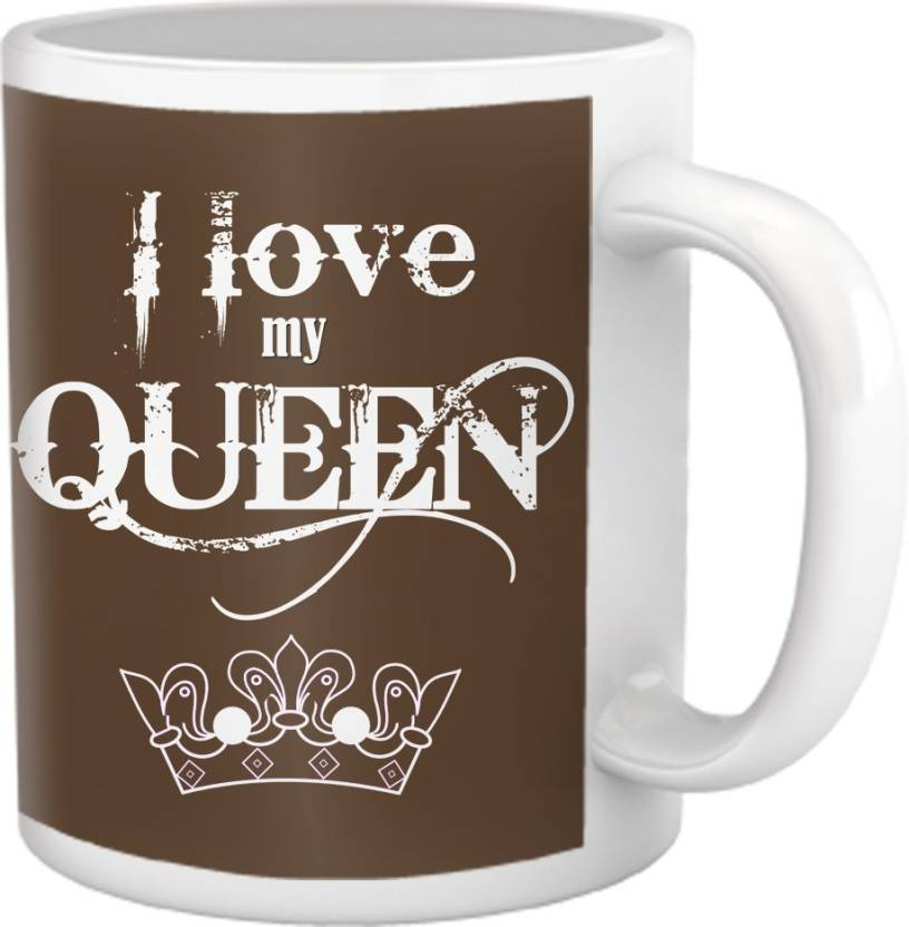 tied ribbons i love my queen coffee ceramic mug