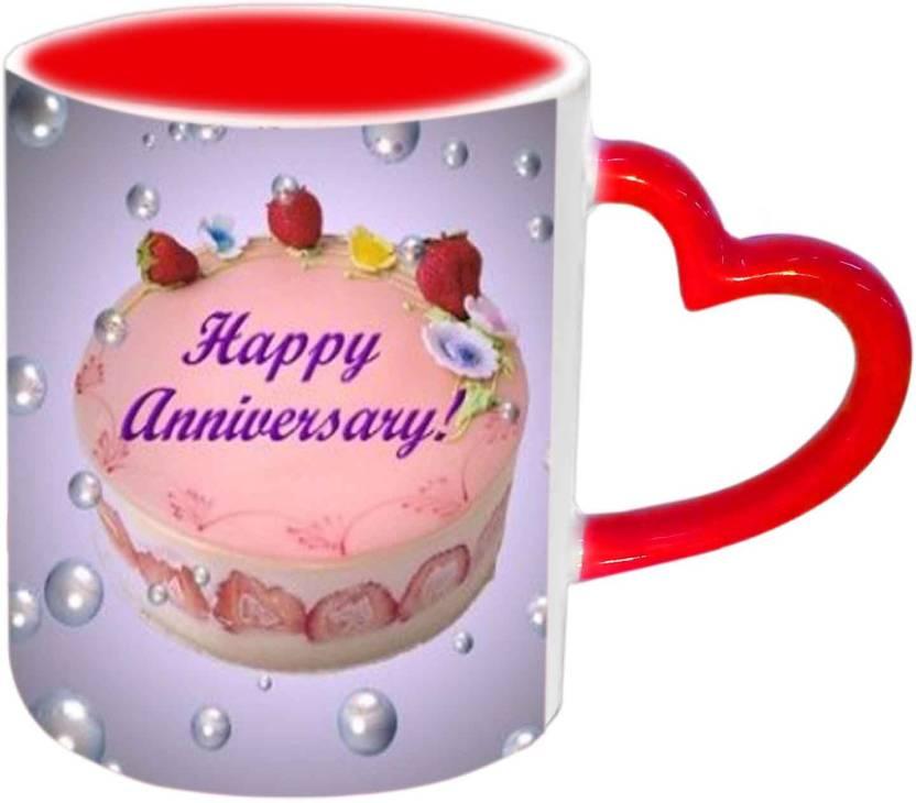 ac59c39248f Jiya Creation1 Happy Anniversary With Yummy Cake Red Heart Handle ...
