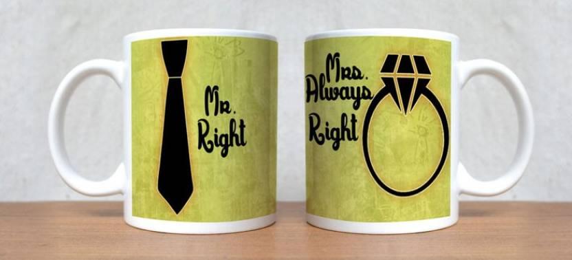 Stybuzz Mr Right And Mrs Always Green Porcelain Mug