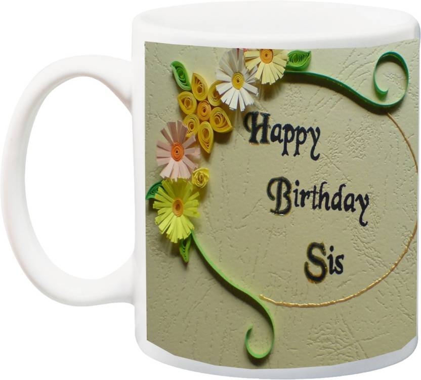 MEYOU Best Birthday Gift For Sister 3D Font Ceramic Mug 350 Ml