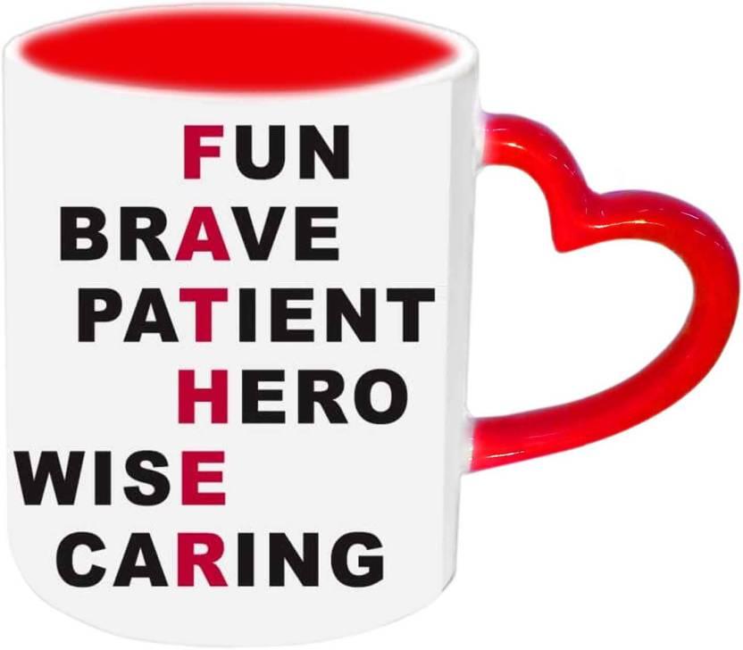 Raj Laxmi Full Form Of FATHER Red Heart Handle Ceramic Mug Price in
