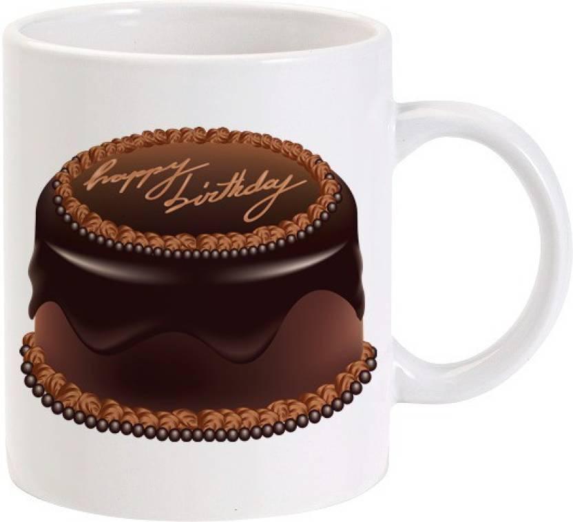 Lolprint Happy Birthday Chocolate Cake Ceramic Mug Price In India