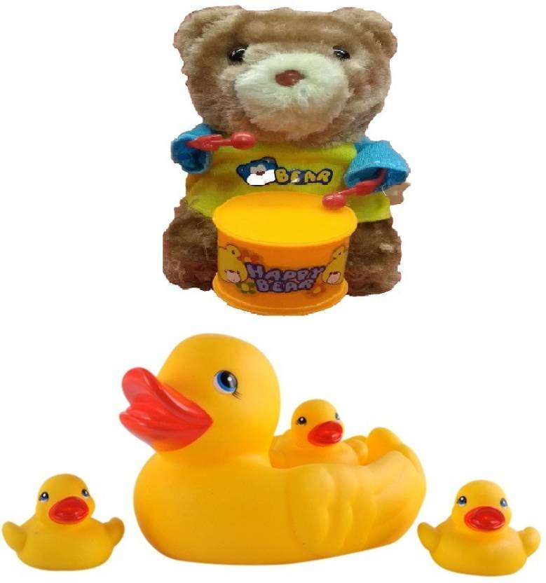 New Pinch Duck Bath Toy with Windup Teddy Bear Drummer - Duck Bath ...
