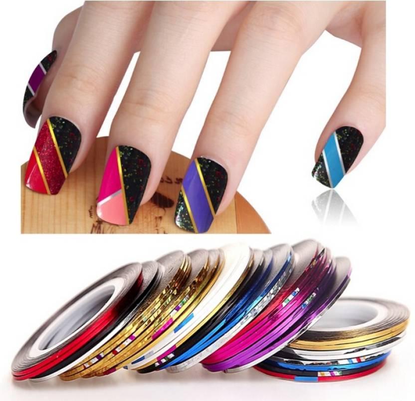 Looks United 20 X Random Color Nail Art Striping Rolls Tape Nail ...