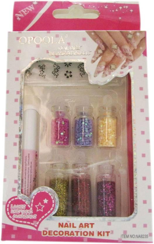 Opoola Nail Art Decoration Kit (Pack of 6 Bottles with Glue Stick ...