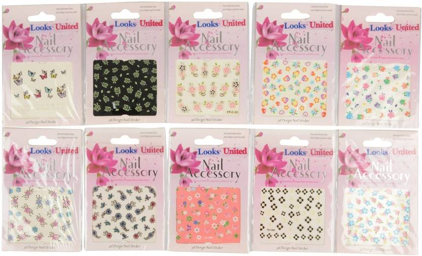 Looks United 10 Sheets Mix Design Stickers For Nail Art And Nail Tip