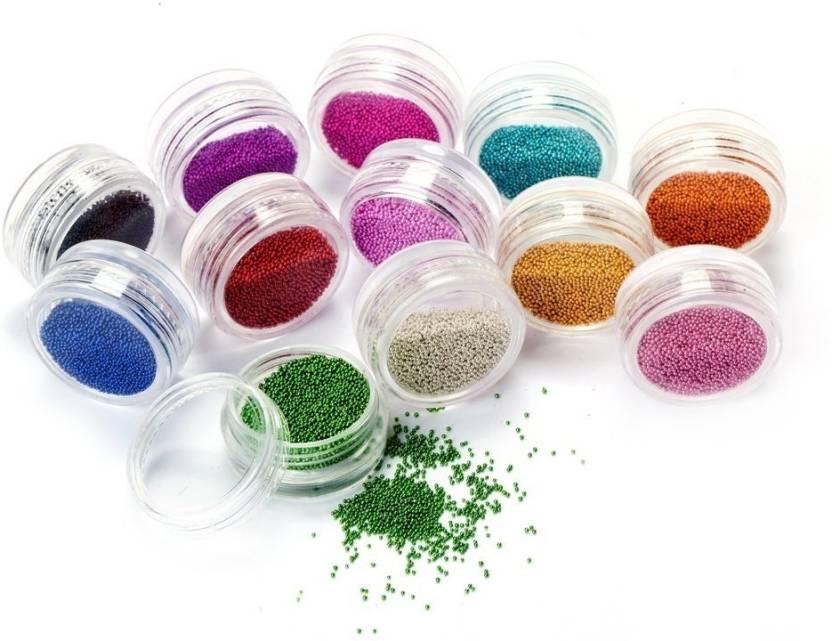 Atanands 12 Jar Mixed Colors Caviar Nail Art Micro Beads Price In