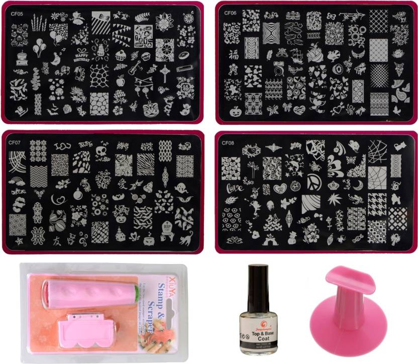 Imported Nail Art Stamping Kit with 4 Large Image Plates WA50_SET C ...