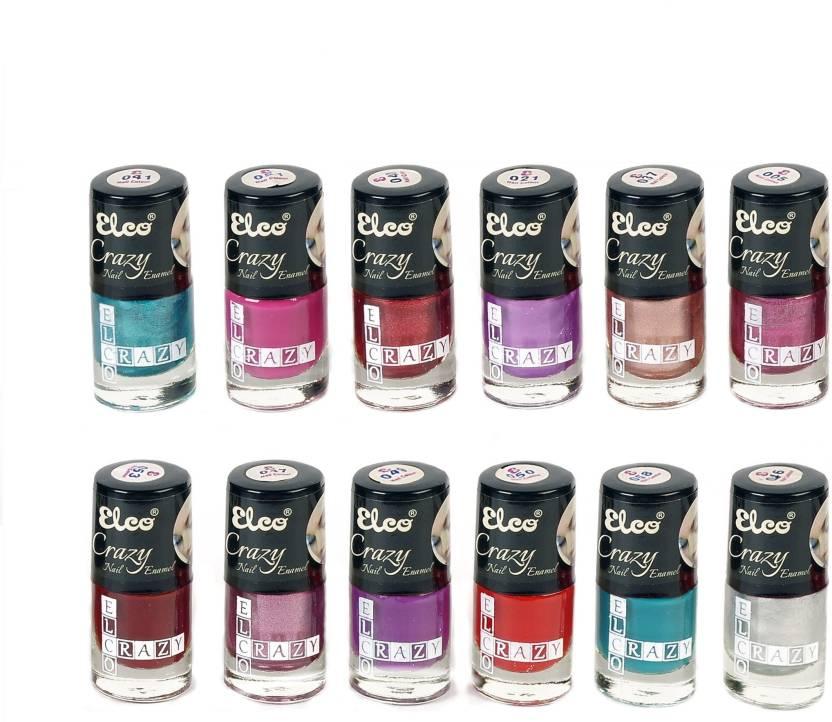Elco Crazy Nail Enamel(pack of 12) Shamrock Blue, Violet Velvet ...