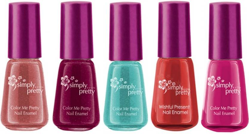 Avon Color Me Pretty Nail Enamel Set Of 5 Pink Passion Maroon