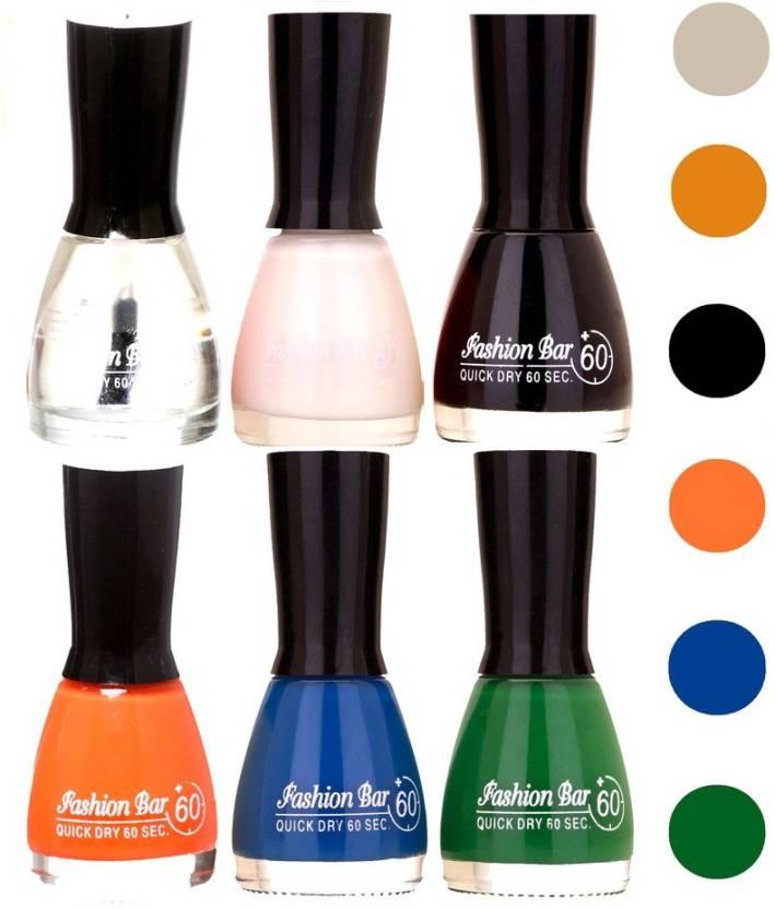 Fashion Bar Quick Dry Nail Polish Pack Of 6 126 Multicolor