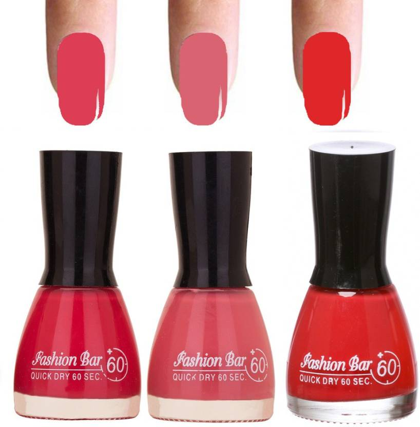 Fashion Bar Tomato Red Shades 3 Of Pack Gorgeous Nail Polish Combo In 27 Ml Pink