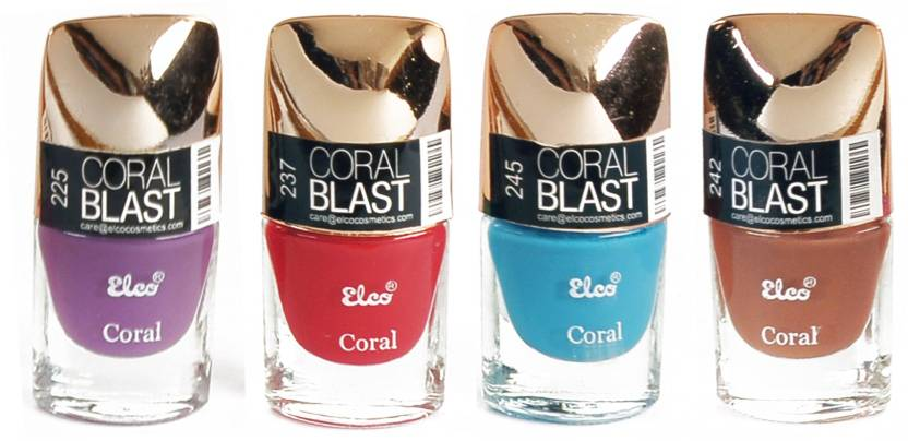 Elco Coral Nail Polish - (Pack Of 4) Blood Red, Lilac Purple, Sky ...