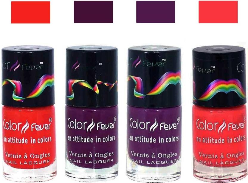 Color Fever Neon Matte Nail Polish Combo-1016 Orange Wine Purple ...