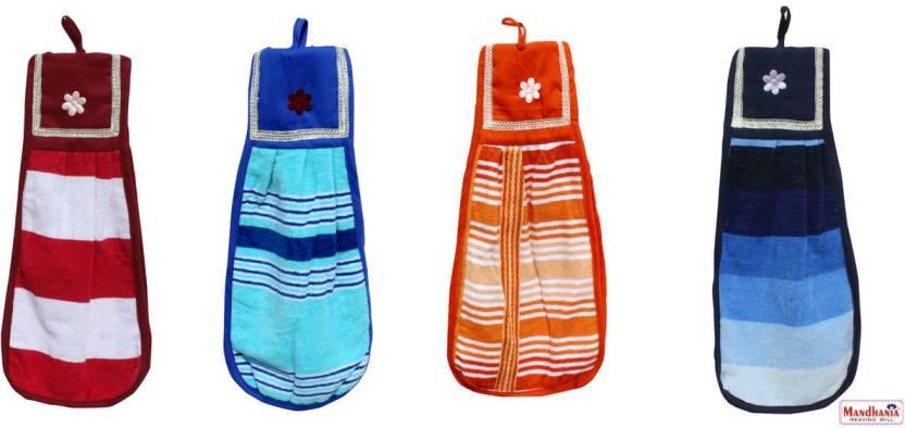 Mandhania Dailyuse Cotton Washbasin Napkin / Hand Towel for Kitchen & Bathroom Towels 4 pcs set Multicolor Napkins (4 Sheets)