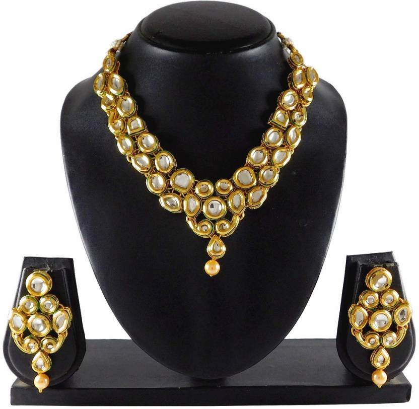 1c5db7425 Sujwel Traditional Kundan Necklace Set Pearl Gold-plated Plated Zinc  Necklace Set Price in India - Buy Sujwel Traditional Kundan Necklace Set  Pearl ...