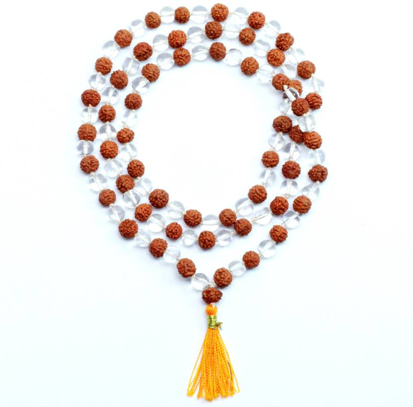 SHIVOHAM Sphatik Rudraksha Mala 108+1 Beads Silk Dori
