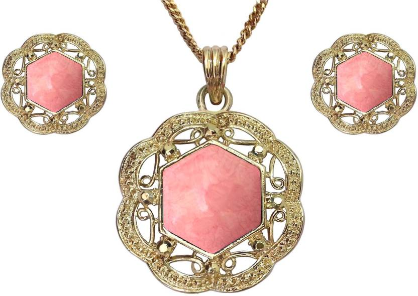 ad0430eba Shreya Collection Pink Colour Floral Design Rhinestones Stud Pendant Set  with Stud Earrings & Golden Colour Chain - 671.13 Alloy Necklace Price in  India ...