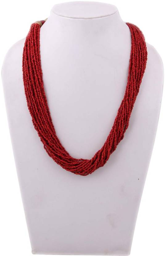 41ad028b Indian Charm Red Poth Beads Glass Necklace Price in India - Buy ...