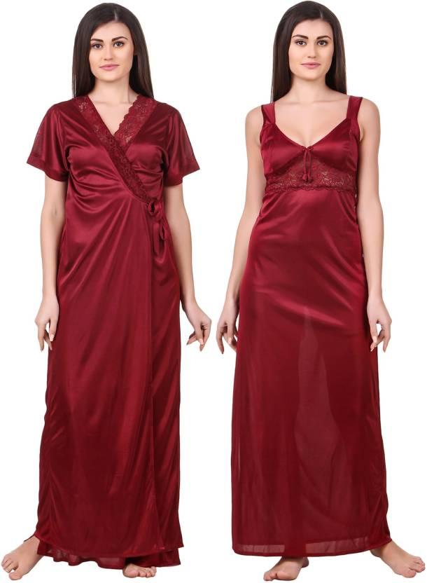 599baebd3c Fasense Women s Nighty with Robe - Buy Maroon Fasense Women s Nighty ...
