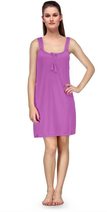 da04c1edc2750 Fashigo Women s Nighty - Buy Light Purple Fashigo Women s Nighty ...