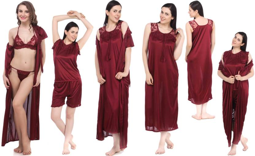 b8849f7d50 Fasense Women s Nighty Set - Buy Maroon Fasense Women s Nighty Set ...