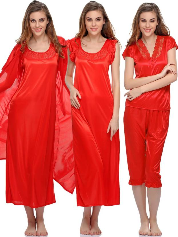 20a2b1a7d2 Clovia Women s Nighty - Buy RED Clovia Women s Nighty Online at Best ...