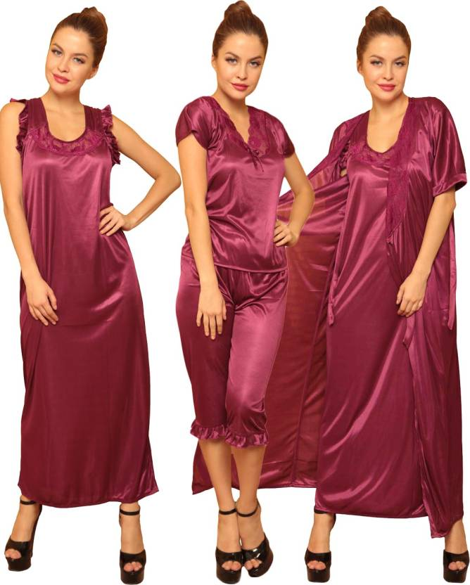 86dd6ffd44 Clovia Women s Nighty - Buy Wine Clovia Women s Nighty Online at ...