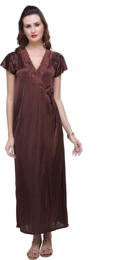 a9e0d4757e3 Hot N Sweet Women's Nighty with Robe - Buy Brown Hot N Sweet Women's ...