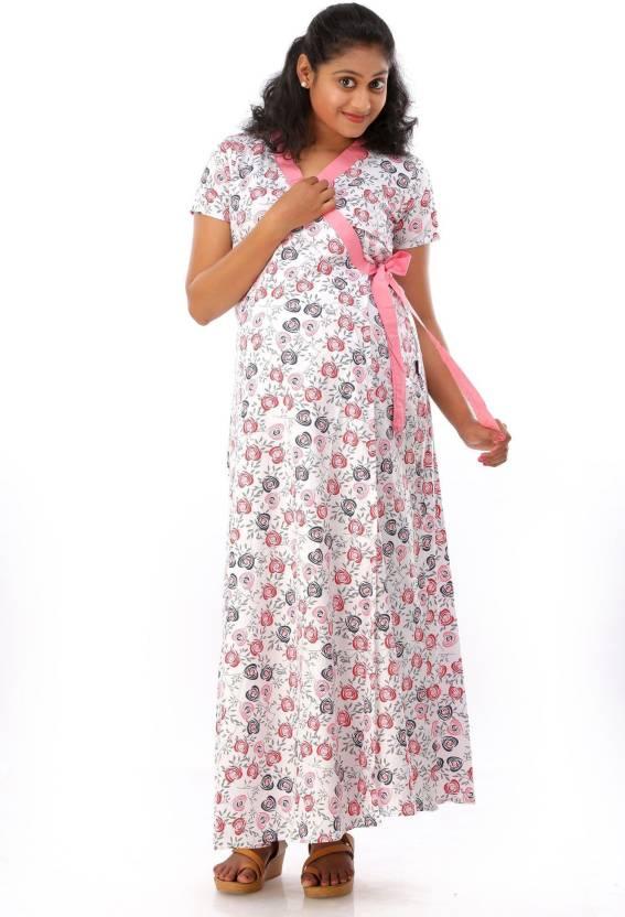 608a1d19b297d Ziva maternity wear Women's Nighty with Robe - Buy Multicolor Ziva ...