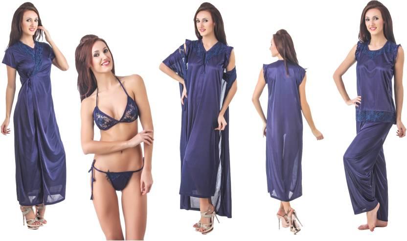 cd6bf8ea00 Fasense Women Nighty Set - Buy Navy Blue Fasense Women Nighty Set ...