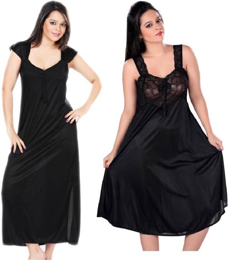 2d29b17770 Boosah Women Nighty - Buy Black Boosah Women Nighty Online at Best ...