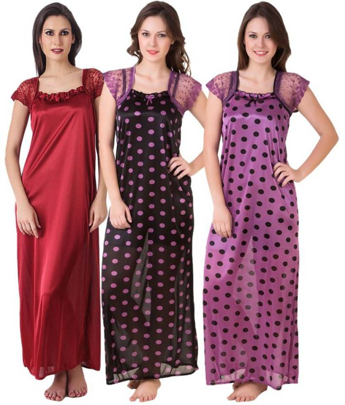 46b3c6824e Masha Women Nighty Set - Buy Black Masha Women Nighty Set Online at ...