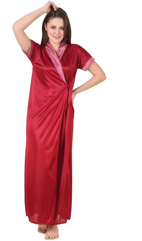 Masha Women Nighty with Robe - Buy Maroon Masha Women Nighty with ... ecfe3595f