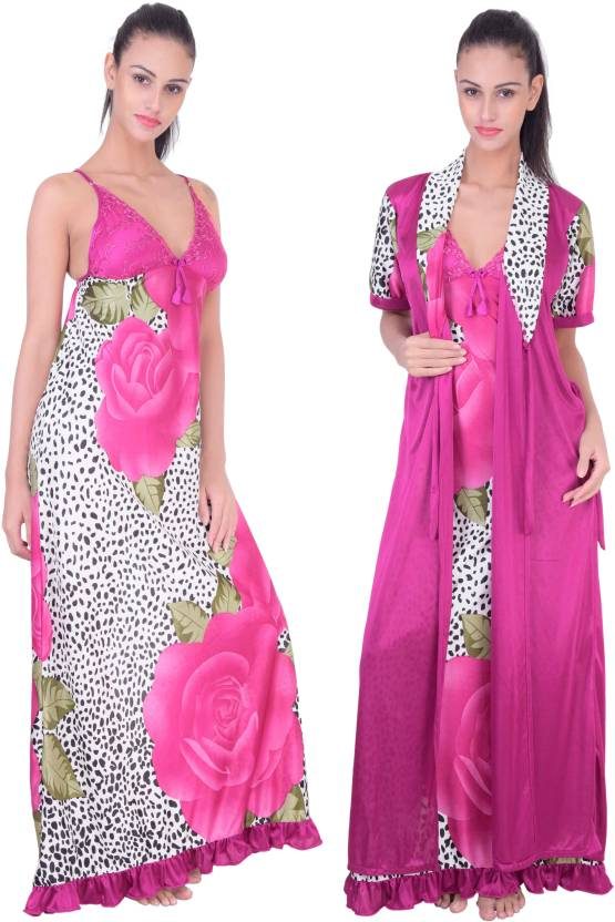 Fashion Zilla Women s Nighty with Robe - Buy Margenta Fashion Zilla ... 788f6be67