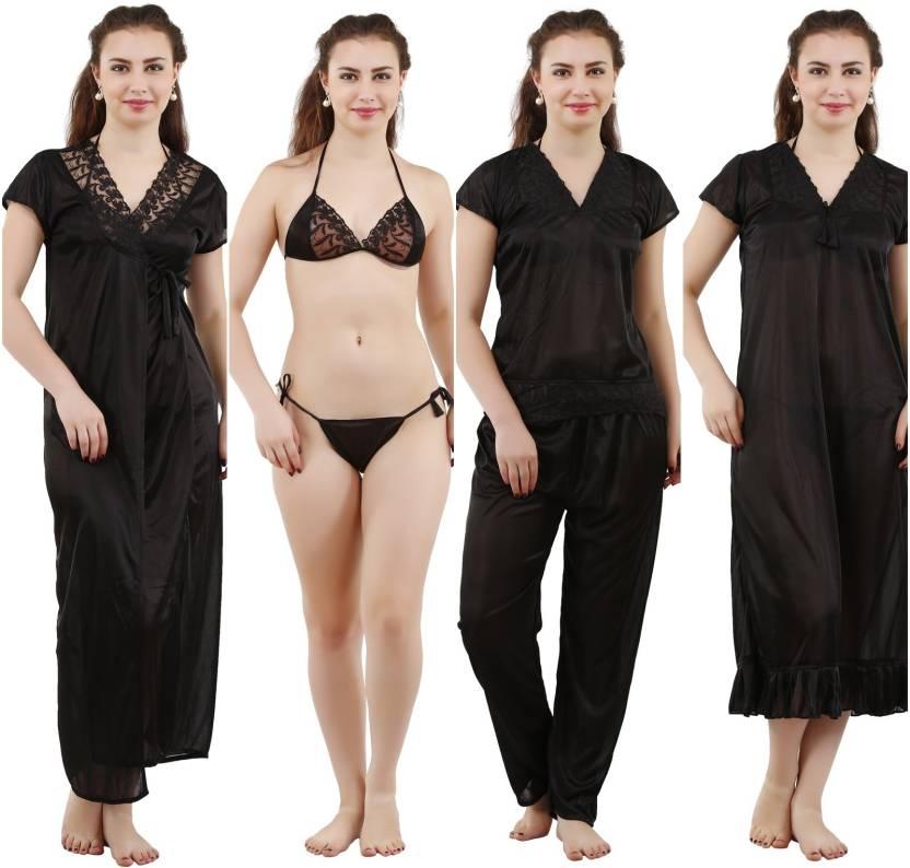 685a6f775 Romaisa Women Nighty Set - Buy Black Romaisa Women Nighty Set Online ...