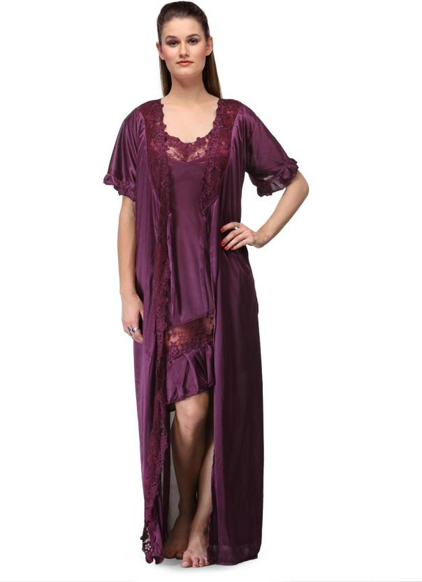 d02f9f8255 Fashigo Women s Nighty with Robe - Buy Purple Fashigo Women s Nighty ...