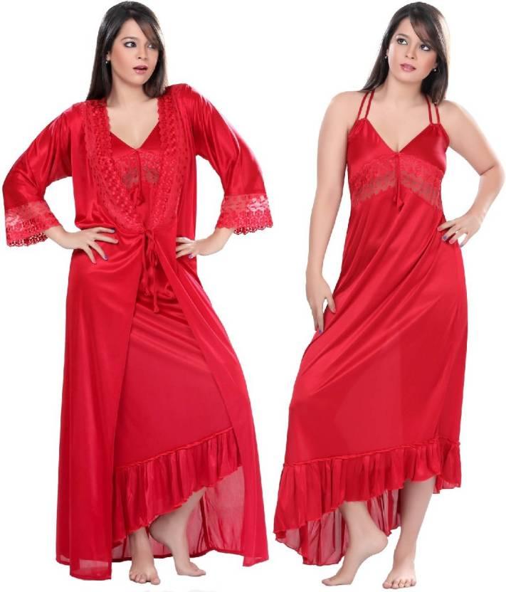 03f36b9c04 Boosah Women's Nighty with Robe - Buy Red Boosah Women's Nighty with ...
