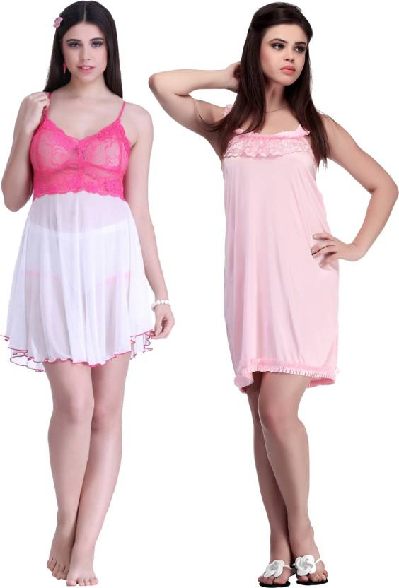 5cde19c9d9 Belle Nuits Women s Nighty - Buy Pink Belle Nuits Women s Nighty ...