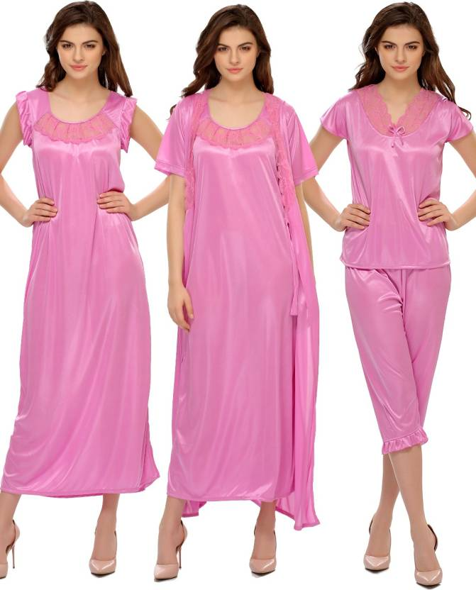0cd68f0b69 Clovia Women s Nighty Set - Buy Pink Clovia Women s Nighty Set ...